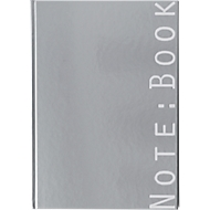 Note:Book, DIN A4, silber, ca. 200 Seiten