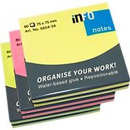 Notes adhésives aux couleurs brillantes 75 x 75 mm, 6 x 80 f.