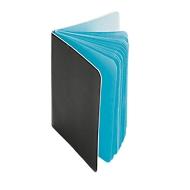 Notizblock, 30 farbige Seiten, schwarzer Pappeinband, hellblau