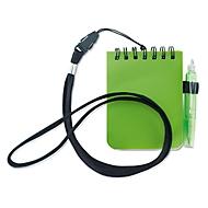 Notizblock, mit Umhängeband und Kugelschreiber, spiralgebunden, 60 x 60 mm, grün