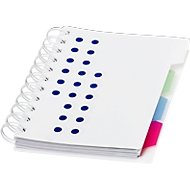 Notizbuch Bucef, 116 Seiten, spiralgebunden, farbliche Register und Kunststoffhülle, blau