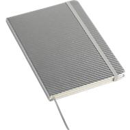 Notizbuch Carb, A5, 80 Blatt liniert, Gummiband-Verschluss & Leseband, silbern