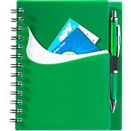 Notizbuch Dymas, spiralgebunden, 70 Blatt liniert, mit Einstecktaschen, grün