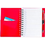 Notizbuch Dymas, spiralgebunden, 70 Blatt liniert, mit Einstecktaschen, rot