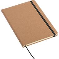 Notizbuch Executive, A5, Gummiband-Verschluss, Leseband, 80 Blatt 70 g/m², liniert, Einband aus Kork + Werbedruck