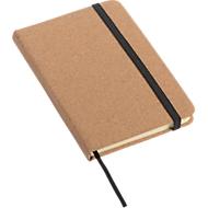 Notizbuch Executive, A6, Gummiband-Verschluss, Leseband, 80 Blatt 70 g/m², liniert, Einband aus Kork + Werbedruck