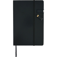 Notizbuch, Format A5, 80 S., mit 4 GB USB Stick, schwarz