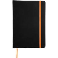 Notizbuch Lector, DIN A5, blanko, 70g/m², 80 Seiten, Tampondruck 50 x 20 mm, schwarz/orange