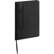Notizbuch Merton, 80 blanko Blätter, Stiftschlaufe, 1-farbiger Druck u. Grundkosten, schwarz
