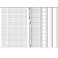 Notizbuch Multibook, DIN A4, je 32 Seiten liniert, kariert, punktiert, blanko, Kunstleder, grau
