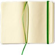 Notizbuch Yakis, 80 Blatt blanko, A7 Format, mit Gummibandverschluss, Weiß/grün