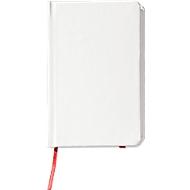 Notizbuch Yakis, 80 Blatt blanko, A7 Format, mit Gummibandverschluss, Weiß/rot