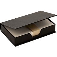 Notizzettelbox aus recycelter Pappe, 180 Blatt recyceltes Papier, schwarz