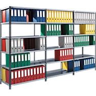 Offre complète : rayonnage d'archivage, accès des 2 côtés, P 600 mm, étagères galvanisées