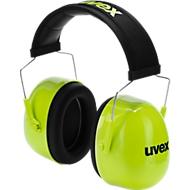 Oorkappen Uvex K4, traagschuim, SNR 35 dB, EN 352-1, in lengte verstelbaar, hoofdbandkussen, neonlimoen,