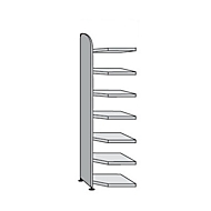 Open kast Dante®, open hoekkast bouwdeel, H 2600 x B 600 mm, zonder achterwand, lichtgrijs