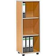 Open kast MOXXO IQ, hout, 3 vakken, 3 ordnerhoogten, B 401 x D 362 x H 1115 mm, beukenpatroon