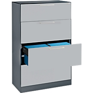 Ophangkast ASISTO C 3000, 4 laden, 2 rijen, B 800 mm, met akoestische panelen, antraciet/aluminiumzilver.