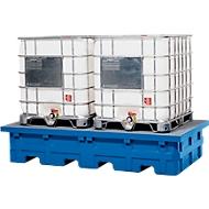 Opslag- en aftapstation voor 2 tankcontainers, met gegalvaniseerd rooster