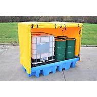 Opslagplaats voor gevaarlijke stoffen met afdekzeil voor 2 x IBC tanks of 8 vaten van 205 l, 1140 l volume, tot 2500 kg, PE & pvc, blauw-geel