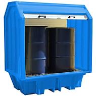 Opslagplaats voor gevaarlijke stoffen met roldeur voor 2 vaten van 205 l, 230 l volume, tot 650 kg, afsluitbaar, aan beide zijden onderrijdbaar, PE, blauw