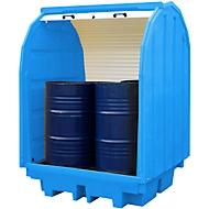 Opslagplaats voor gevaarlijke stoffen met roldeur voor 4 vaten van 205 l, 410 l volume, afsluitbaar, aan beide zijden onderrijdbaar, PE, blauw