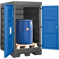 Opslagplaats voor gevaarlijke stoffen, polyetheen, inrijvakken, B 1560 x D 1080 x H 1980, voor 2 vaten à 200 l