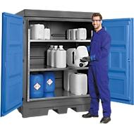 Opslagplaats voor gevaarlijke stoffen, polyetheen, inrijvakken, met archiefrek, B 1560 x D 1080 x H 1980 mm, 250 l