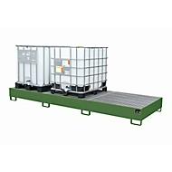 Opvangbak AW 1000-3, voor 3 IBC-containers à 1000 l of 10 vaten à 200 l, , met gegalvaniseerd rooster, L 3850 x B 1300 x H 340 mm, resedagroen RAL 6011