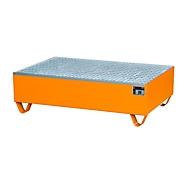 Opvangbak, voor 2 vaten van 200 l elk, met gegalvaniseerd rooster, L 1200 x B 800 x H 360 mm, toegankelijk voor rolstoelgebruikers, staal, geel-oranje RAL 2000