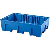 Opvangbak, voor 2 vaten van elk 200 l, met openingen voor palletwagen, B 865 x D 1245 x H 350 mm, zonder rooster, polyetheen, blauw