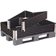 Opzetframe voor pallets, 4 scharnieren, L 1200 x B 800 x H 200 mm, zwart, 4 stuks