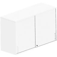 Opzetkast met schuifdeuren BEXXSTAR, 2 ordnerhoogten, zicht-achterwand, B 1200 mm, wit
