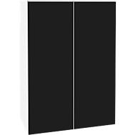 Opzetkast SOLUS, deuren van acrylglas, zwartglanzend, 3 ordnerhoogten, H 1080 x B 800 x D 440 mm, wit