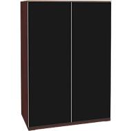 Opzetkast SOLUS, deuren van acrylglas, zwartglanzend, 3 ordnerhoogten, H 1123 x B 800 x D 440 mm,