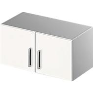Opzetkast TETRIS SOLID, stalen romp, 1 ordnerhoogte, B 800 mm, wit/blank aluminium