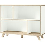 OSLO boekenkast, 2 OH, spaanplaat, B 1200 x D 400 x H 930 mm, met poten, wit/Saremo