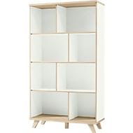 OSLO boekenkast, 4 OH, spaanplaat, B 960 x D 400 x H 1710 mm, met poten, wit/Sanremo