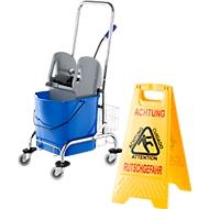 Pack éco. chariot de nettoyage, 27 litres + panneau «sol glissant» gratuit, deux langues