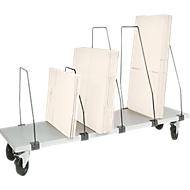 Packpool ondertafel-magazijn, verrijdbaar, 6 duwbeugels, voor inpaktafels B 1500 mm