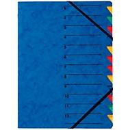 PAGNA Dokumentenmappe Easy, DIN A4, Gummizugverschluss, 12-teilig, blau