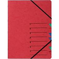 PAGNA Dokumentenmappe Easy, DIN A4, Gummizugverschluss, 7-teilig, rot
