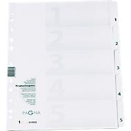 PAGNA Karton-Register, Zahlen 1-5, grau