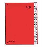 PAGNA Pultordner Color 1 - 31, auch für Überformate, numerisch, Polypropylen, rot
