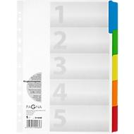 PAGNA Tabbladen met kunststofverstevigde tabs, A4, grijs, 5 gekleurde tabs