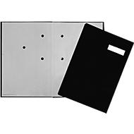 PAGNA vloeiboek, 20 waaiers, karton/linnen stoffering, zwart