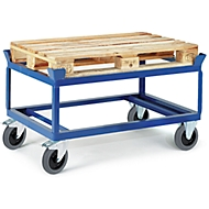 Paletten-Fahrgestell, Ladefläche L 830 x B 1230 x H 650 mm, für bis zu 750 kg, Lenk- & Bockrollen, TPE-Bereifung, Stahl