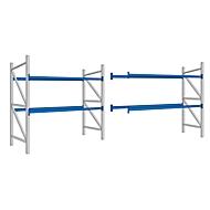 Palettenregal PR 350, Komplettregal 5,4 m, 1 Grund- und 1 Anbaufeld, 2 Ebenen, H 2500 x B 5400 x T 1050 mm, Spanplatte