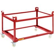 Palletonderstel op wielen, 1210 x 810 mm, rood