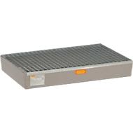 Palletopvangbak 150 CEMO, voor Europallets, B 1200 x D x 800 x H 190 mm, met gegalvaniseerd rooster.
